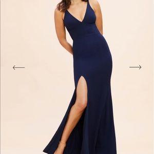 Midnight Blue Iris Slit Crepe Gown